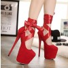 Red Stripper Heels Suede Lace up Platform Pumps High Heel Shoes thumb 4