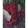 Red Studs Cowgirl Boots Block Heel Knee High Boots thumb 4