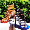 Royal Blue and Black Stiletto Heels Hollow out Platform Sandals thumb 3