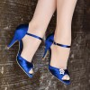 Royal Blue Heels Satin Peep Toe Stiletto Heels Wedding Sandals thumb 3