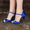 Royal Blue Heels Satin Peep Toe Stiletto Heels Wedding Sandals thumb 4