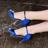 Royal Blue Heels Satin Peep Toe Stiletto Heels Wedding Sandals thumb 2