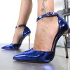 Royal Blue Pointy Toe Ankle Strap Heels High Heel Pumps thumb 3