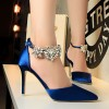Royal Blue Evening Shoes Pointy Toe Stilettos Ankle Strap Pumps thumb 4