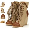 Women's Khaki Lace-up Wedge Heel Ankle Boots-Vintage Shoes thumb 2