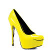 Women's Yellow Platform Heels Floral Print Almond Toe Stiletto Heel Pumps thumb 4