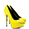 Women's Yellow Platform Heels Floral Print Almond Toe Stiletto Heel Pumps thumb 5