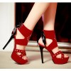 Women's Coral Red Silver Studs Super Stiletto Heel Stripper Heels thumb 2