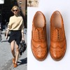 Tan Women's Oxfords Lace Up Heels Brogues Chunky Heels Vintage Shoes thumb 3