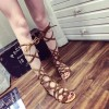 Women's Brown Open Toe  Flats Strappy Sandals thumb 2