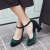 Dark Green Ankle Strap Heels Suede Vintage Block Heel Pumps thumb 4