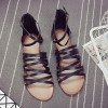 Women's Black Flats Open Toe Gladiator Ankle Strap Sandals thumb 3