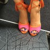 Hot Pink Strappy Sandals Peep Toe Lace up Tassels Suede Pumps thumb 3