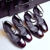 Maroon Vintage Heels Square Toe Block Heel Mary Jane Pumps  thumb 3