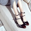 Maroon Vintage Heels Square Toe Block Heel Mary Jane Pumps  thumb 2