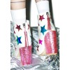 White and Pink Glitter Holographic Stars Chunky Heel Fashion Boots thumb 3