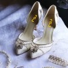 Lace Ivory Wedding Shoes Rhinestone Low Heel Bridal Shoes thumb 2