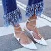 White Pointy Toe Lace up Flat Casual Shoes for Women thumb 5