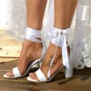 White Lace up Wedding Sandals Open Toe Strappy Block Heels thumb 2