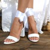 White Lace up Wedding Sandals Open Toe Strappy Block Heels thumb 4