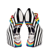 Black and White Heels Stripes Skull Platform Pumps Closed Toe Wedges thumb 2
