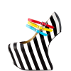 Black and White Heels Stripes Skull Platform Pumps Closed Toe Wedges thumb 4