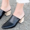 Women's Black Block Heel Sandals Almond Toe Mules thumb 2