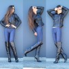 Black Sexy High Heel Boots Pointy Toe Stiletto Heel Knee Boots thumb 4