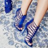 Royal Blue Stiletto Heels Gladiator Sandals Zipper Strappy Sandals thumb 4