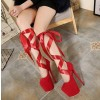 Red Stripper Heels Suede Lace up Platform Pumps High Heel Shoes thumb 5