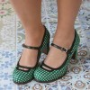 Women's Green Mary Jane Shoes Vintage Chunky Heels Pumps thumb 2
