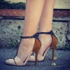Women's Nude Stiletto Heels Pumps Ankle Strap Buckle T Strap Shoes thumb 2