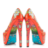 Women's Funny Red Platform Floral Heels Almond Toe Cone Heels Pumps thumb 3