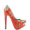 Women's Funny Red Platform Floral Heels Almond Toe Cone Heels Pumps thumb 6