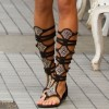 Lelia Black Knee High Gladiator Sandals Rhinestone Strappy Sandals thumb 2