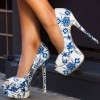 Women's White With Blue Flowers Peep Toe Stiletto Heels Sandals