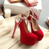 Coral Red Gold Ankle Buckle Stiletto Pumps with Platform shoes thumb 3