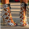 Black and White Heels Lace Up Peep Toe Strappy Sandals  thumb 7