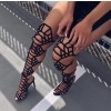 Black Gladiator Heels Strappy Over-the-knee Stiletto Heels Sandals thumb 4