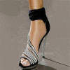 Black Evening Shoes Rhinestone Ankle Strap Sandals for Ball thumb 2