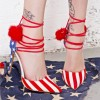 Stars and Stripes Pom Pom Heels Strappy Closed Toe Pumps thumb 4