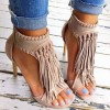 Khaki Fringe Sandals Open Toe 3 Inches Stiletto Heels Shoes thumb 6