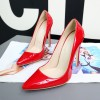 Red Stiletto Heels Patent Leather Pointy Toe Office Pumps thumb 8