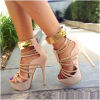Women's Nude Open Toe Metal Chains Wrapped Platform Stiletto Heels Sandals thumb 3