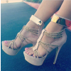 Women's Nude Open Toe Metal Chains Wrapped Platform Stiletto Heels Sandals thumb 4
