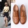Tan Women's Oxfords Lace-up Brogues Vintage Flats thumb 5