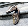 Sliver Fringed Pointed Toe Vintage Lace-up Women's Oxfords Brogues thumb 3