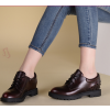 Women's Maroon Oxfords Round Toe Lace-up  Rivets Vintage Shoes thumb 4