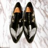 Black Vintage Shoes Slip-on Women's Oxfords with Wings and Pearls Embelishment thumb 2