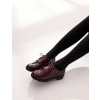 Burgundy Patent Leather Fringed Lace-up Vintage Shoes-Women's Oxfords thumb 4